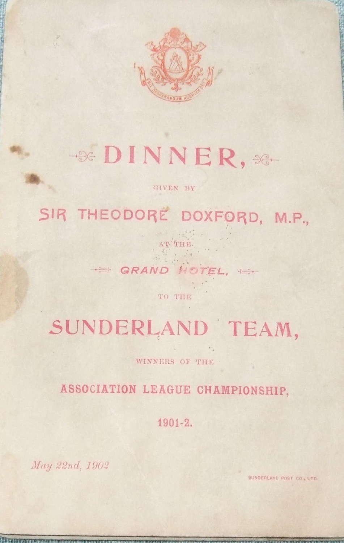 Sunderland 1902 championship winning menu