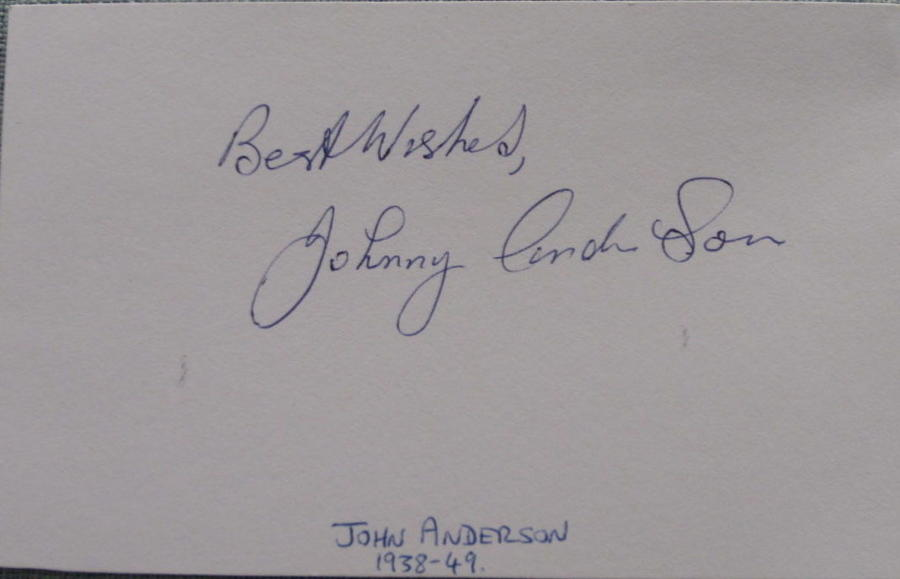 Johnny Anderson Manchester Utd signed white card