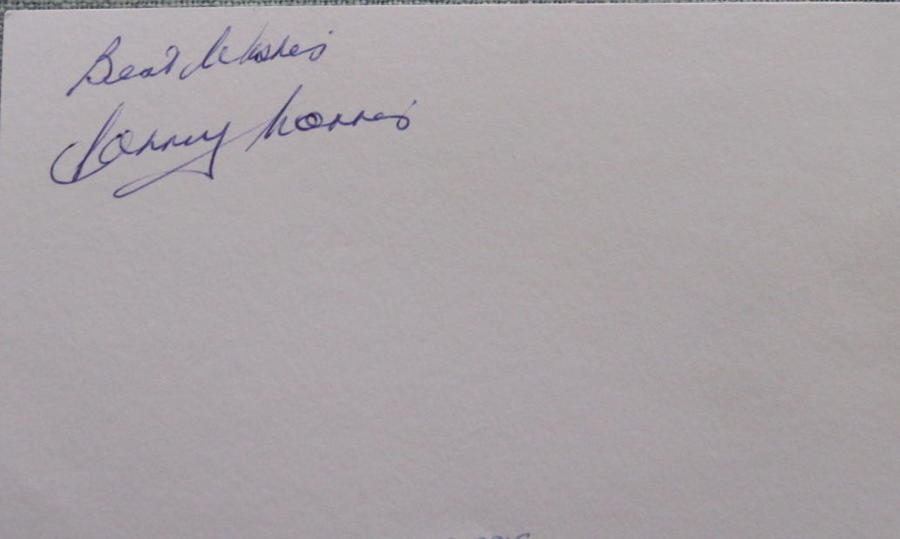 Johnny Morris Manchester United signed white card