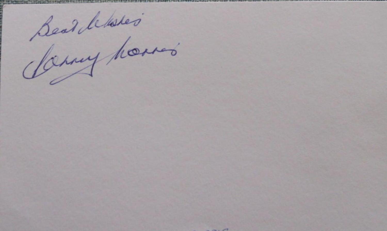 Johnny Morris Manchester United signed white card
