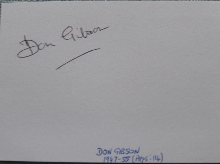 Don Gibson Manchester United signed white card