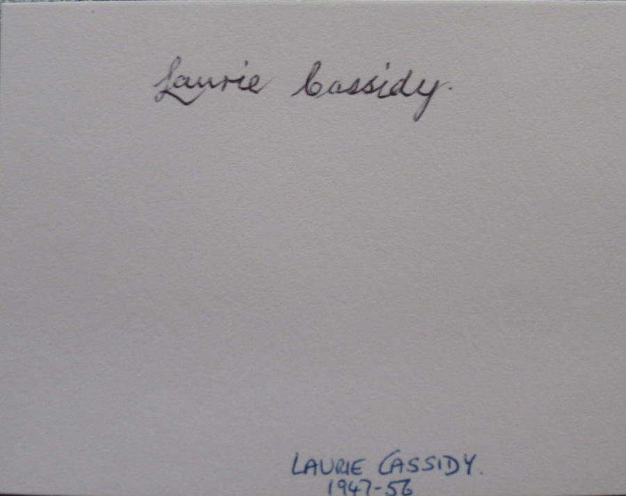 Laurie Cassidy Manchester United signed white card