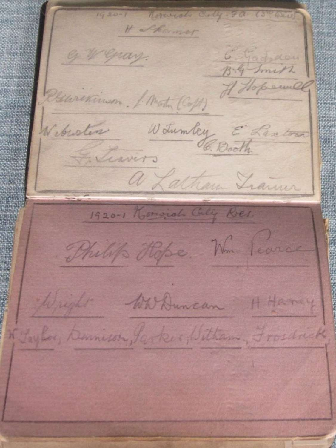 Norwich City 1920-21 autograph pages