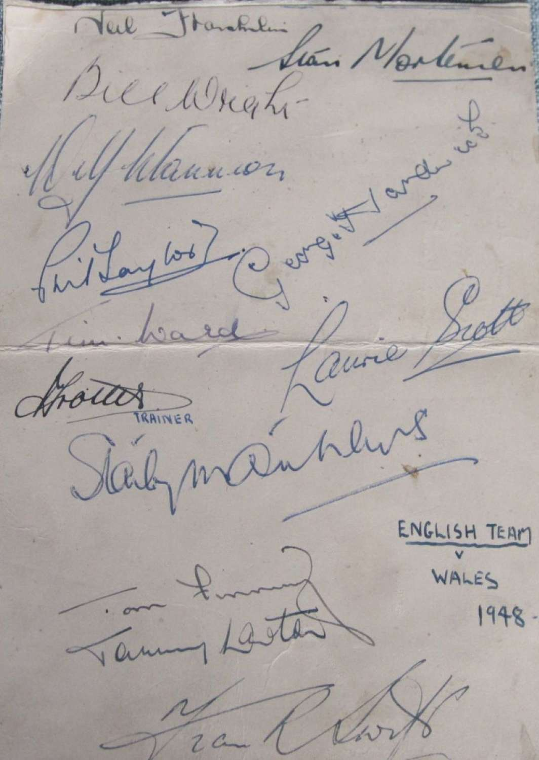 Wales v England 1947  signed by England team