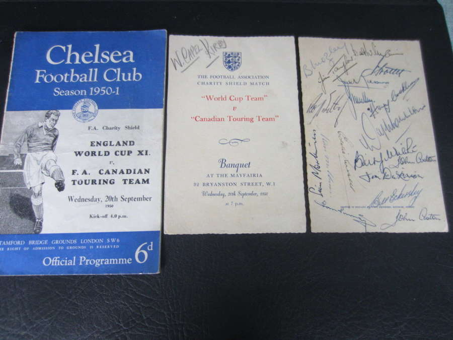 World Cup Team v Canadian Touring Team 1950 Charity Shield signed menu