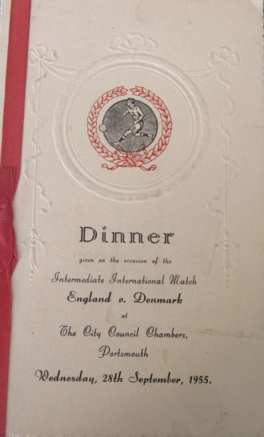 England v Denmark under23 signed menu 1955 at Portsmouth