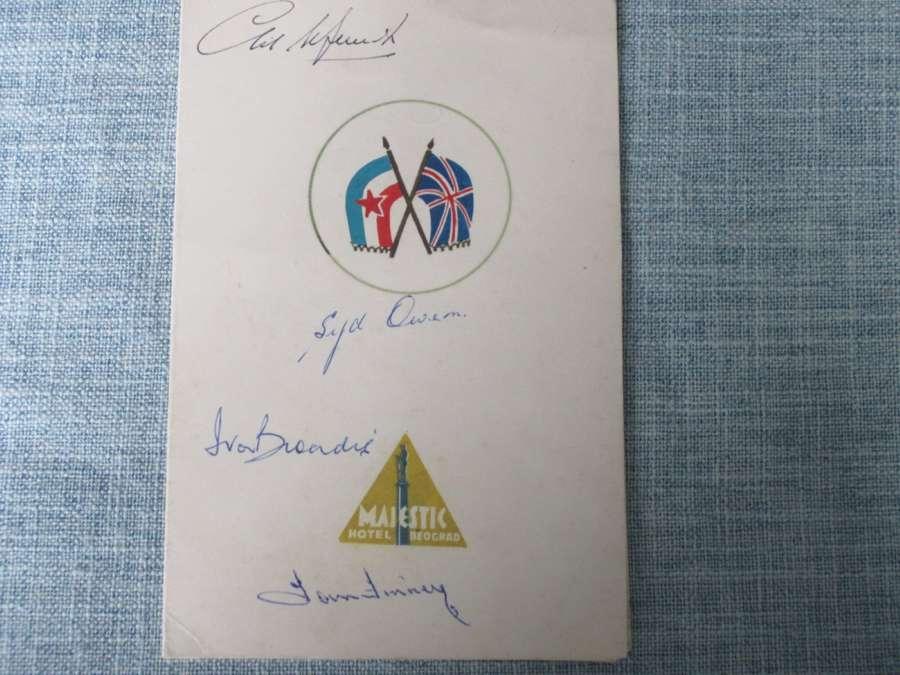 Yugoslavia v England 1954 signed menu