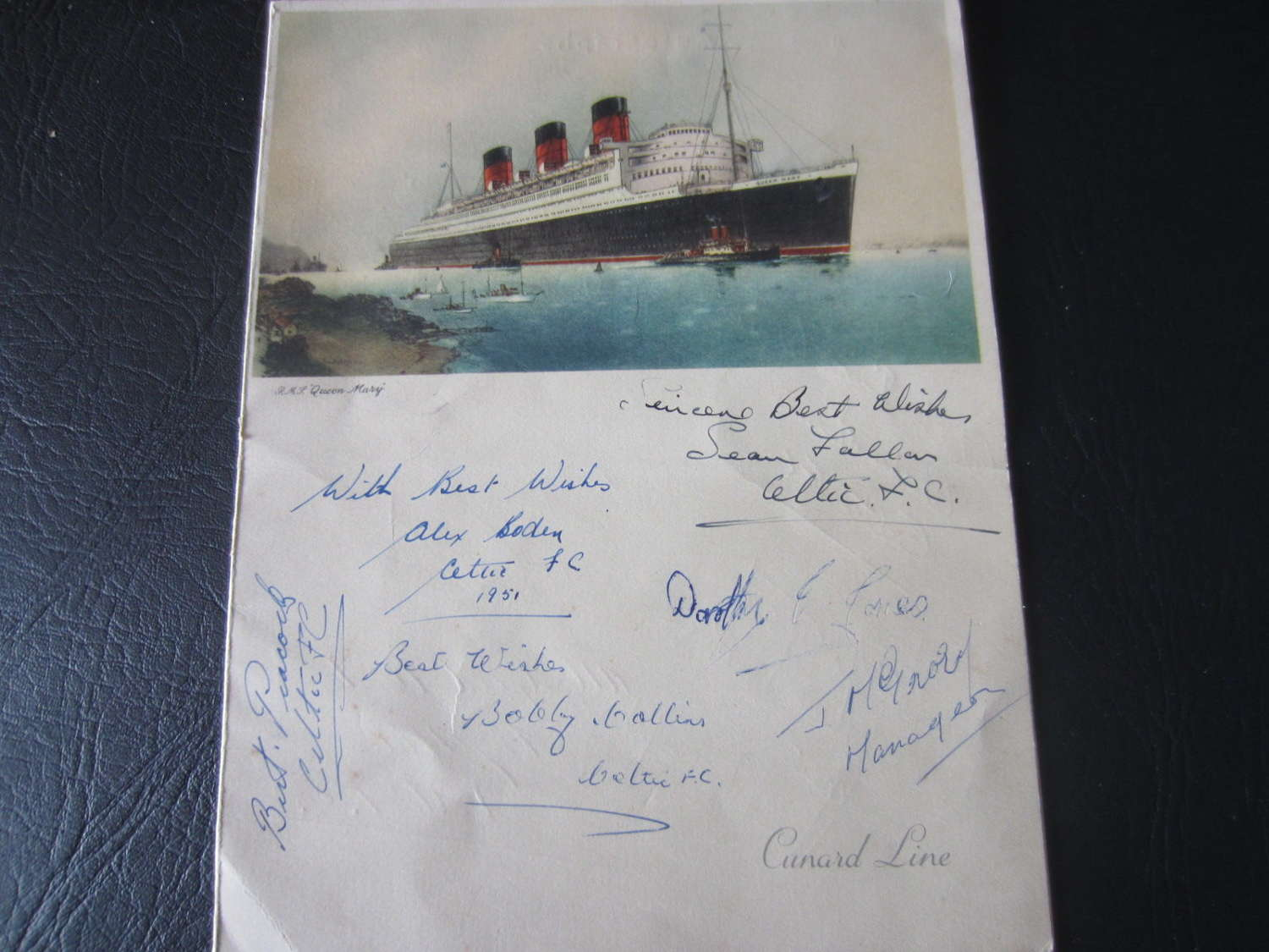 Celtic Signed Dinner Menu Queen Mary 1950-51