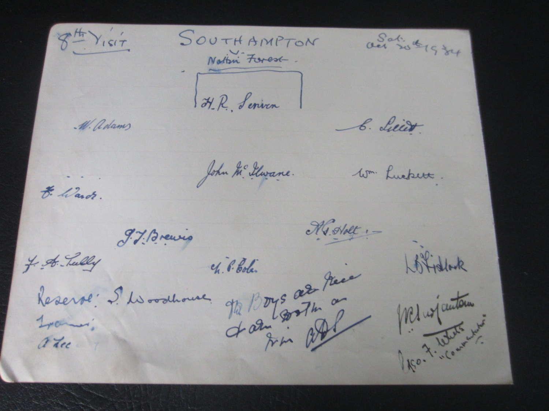 Southampton Autograph Page 1934