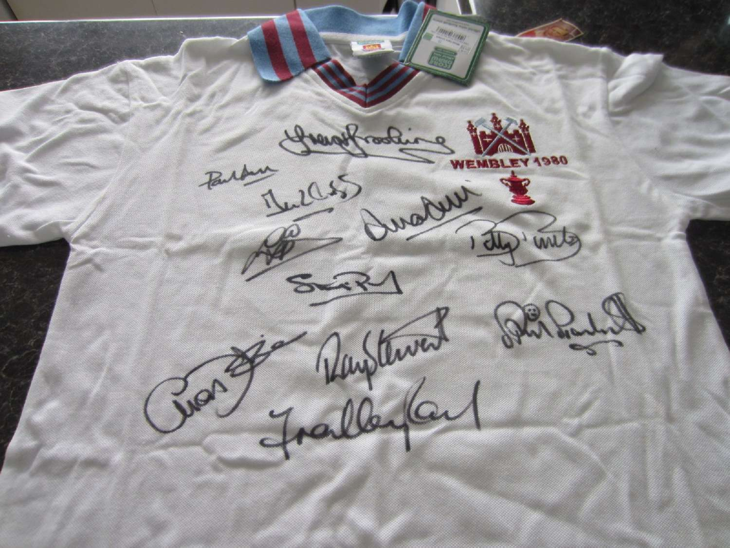 West Ham United 1980  FA Cup Shirt Fully Signed