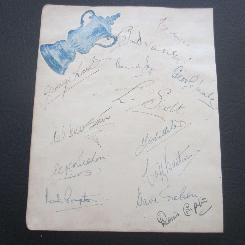 Arsenal 1942-43 League South Cup Final Autographs