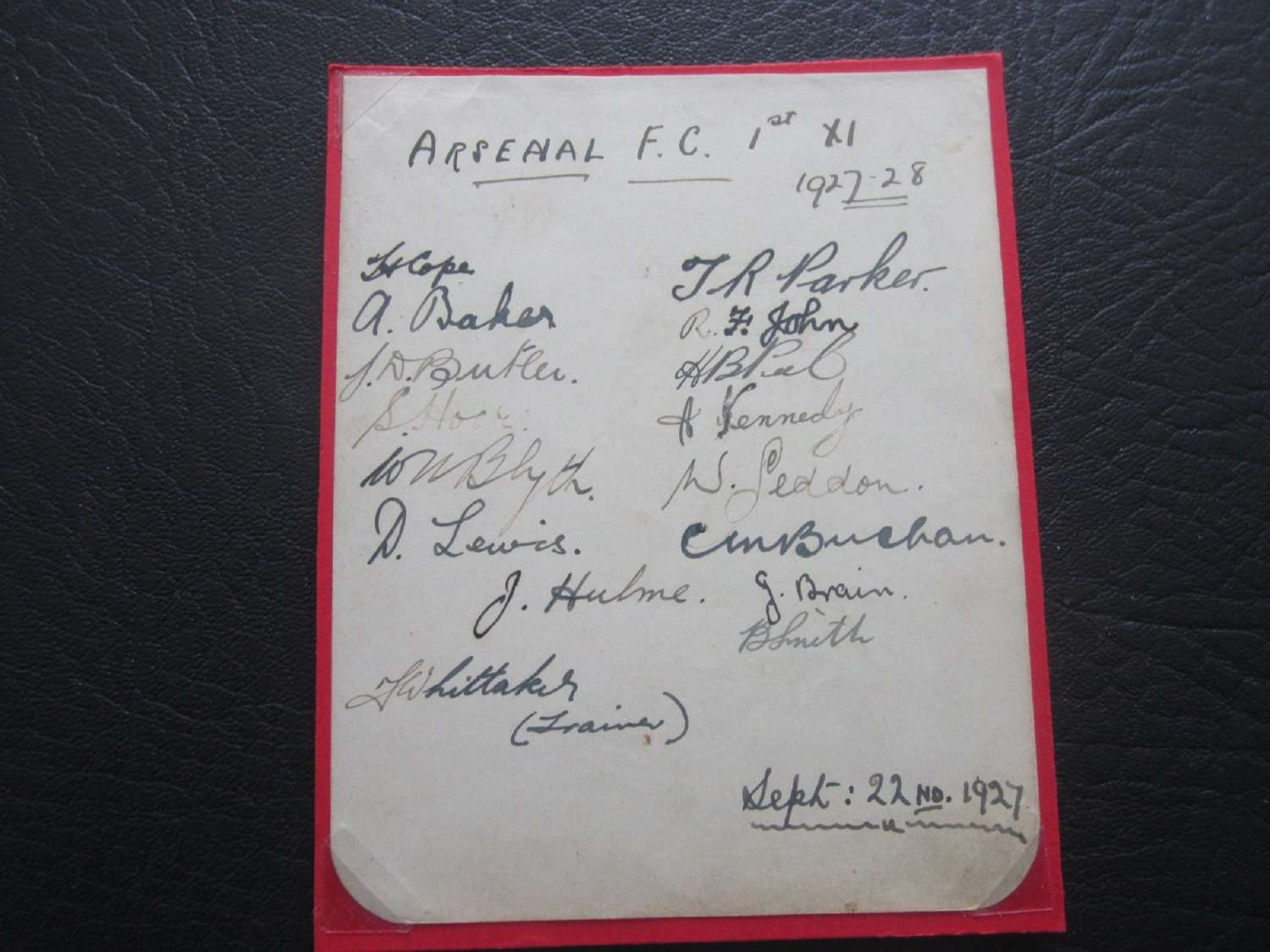Arsenal 1927-28 Cup Final Team Autograph Page