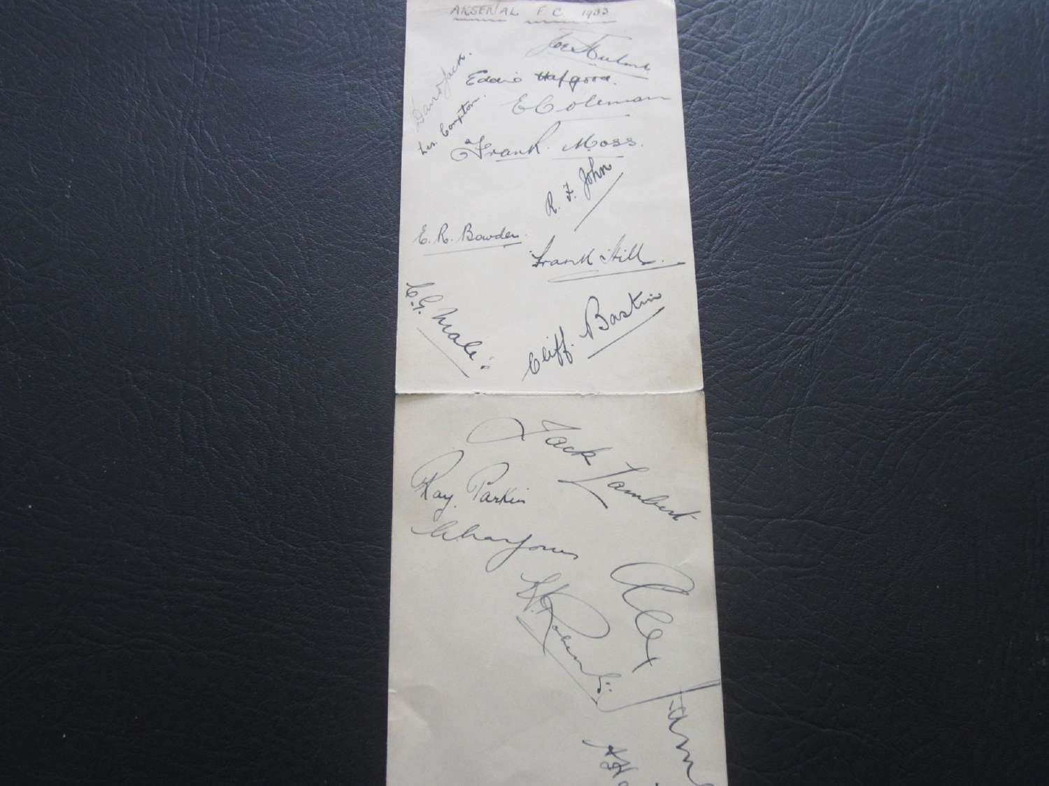 Arsenal 1933 Autograph Page Signed By 1932 FA Cup Team