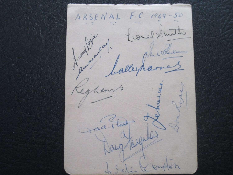 Arsenal Autograph Page 1949-50