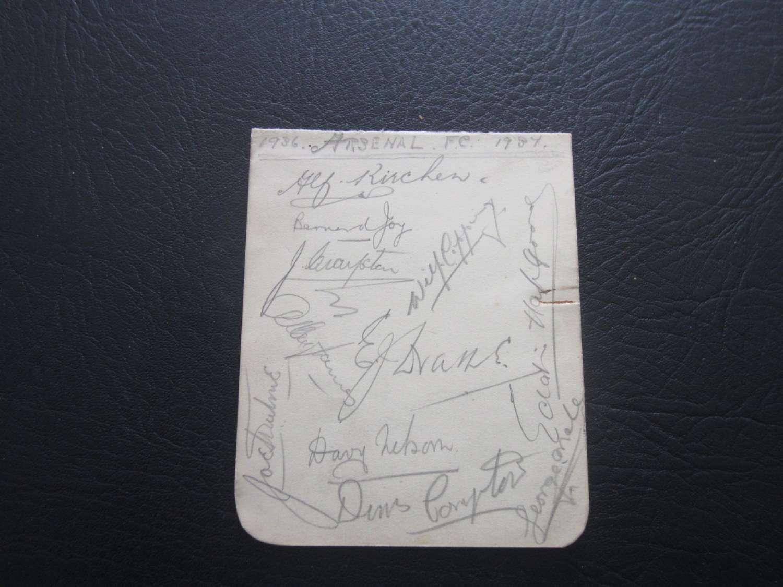 Arsenal Autograph Page 1936-37