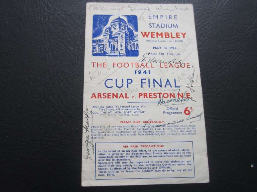 1941 War Cup Final Arsenal v Blackburn Fully Signed By Arsenal Team