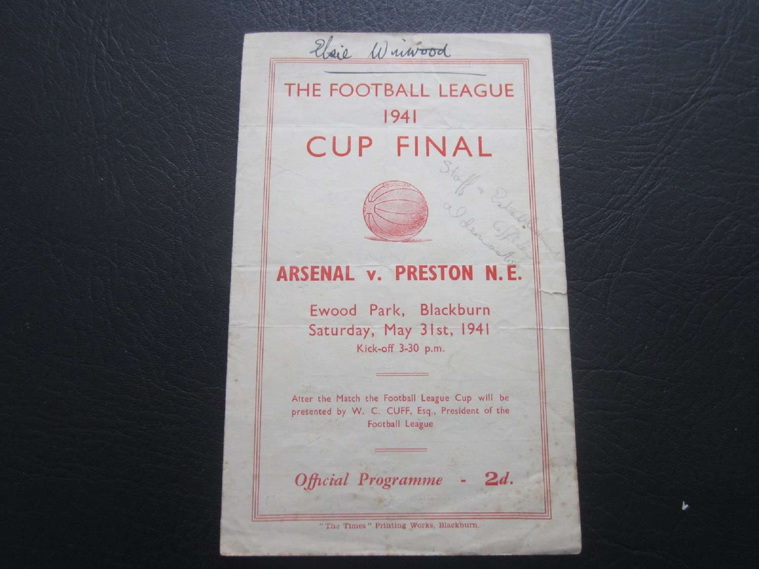 1941 War Cup Final Replay Arsenal v Blackburn Replay Fully Signed