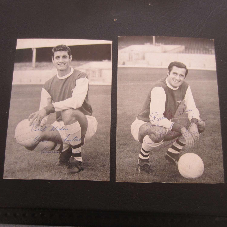 Arsenal Signed Club Cards George Graham & Frank McClintock