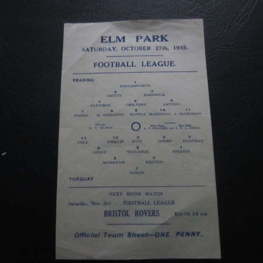 Reading v Torquay United 1945-46