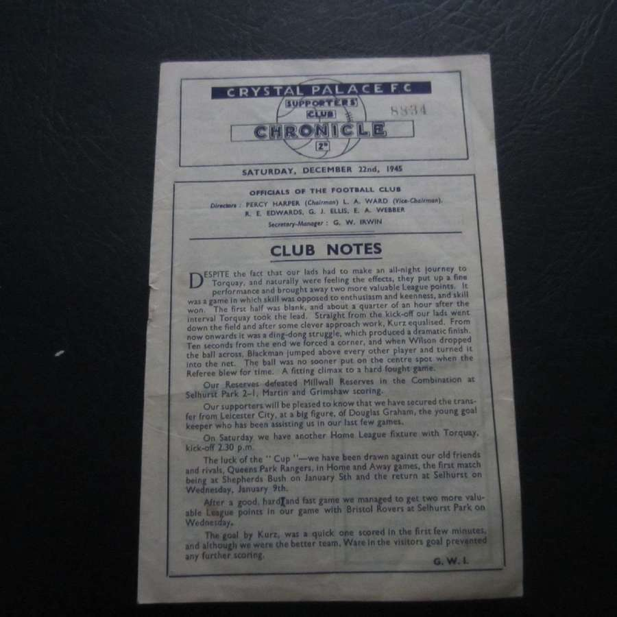 Crystal Palace v Torquay United 1945-46